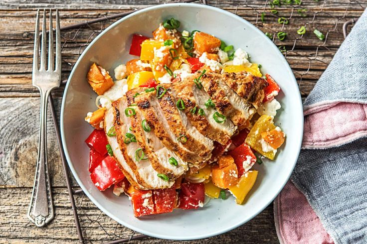 Sizzling Southwestern Chicken with a Sweet Potato, Bell Pepper, and Feta Jumble