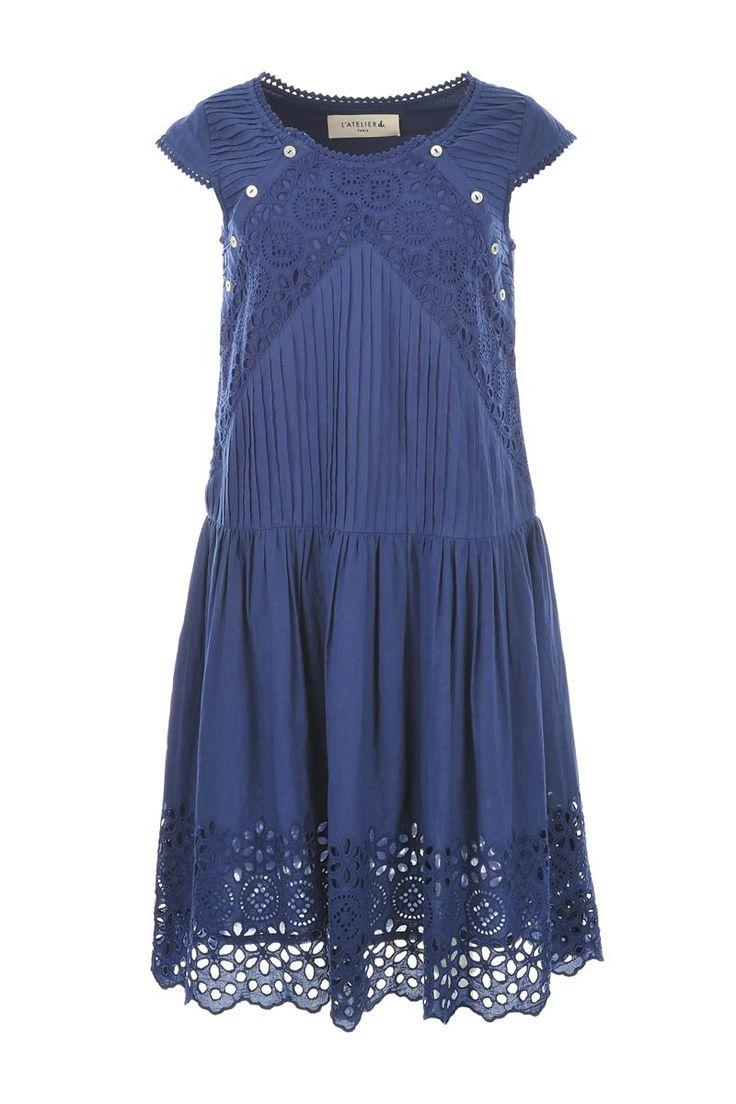L'atelier D Tarare Boho Lace Dress Navy