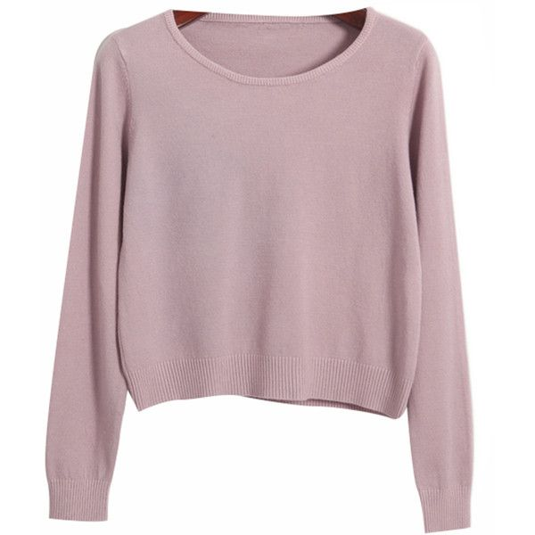Chicnova Fashion Pure Color Round Neck Sweater ($19) ❤ liked on Polyvore featuring tops, sweaters, shirts, jumpers, purple shirt, purple sweater, purple jumper, purple top and round neck top