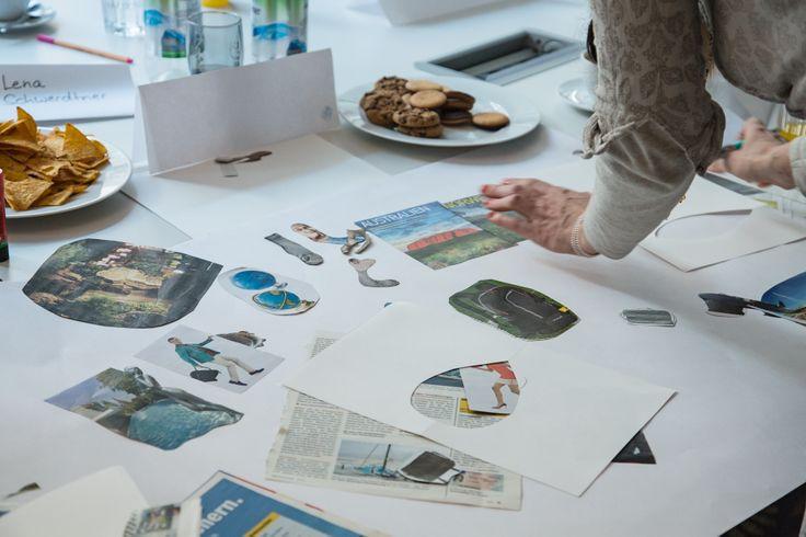 Praxis Workshop 'Visual #Storytelling: Erste Ergebnisse sind erkennbar- Die Teilnehmer erstellen anhand ihrer #Storymap eine Collage als #Storyboard . #Storytelling #Workshop #7pointstory