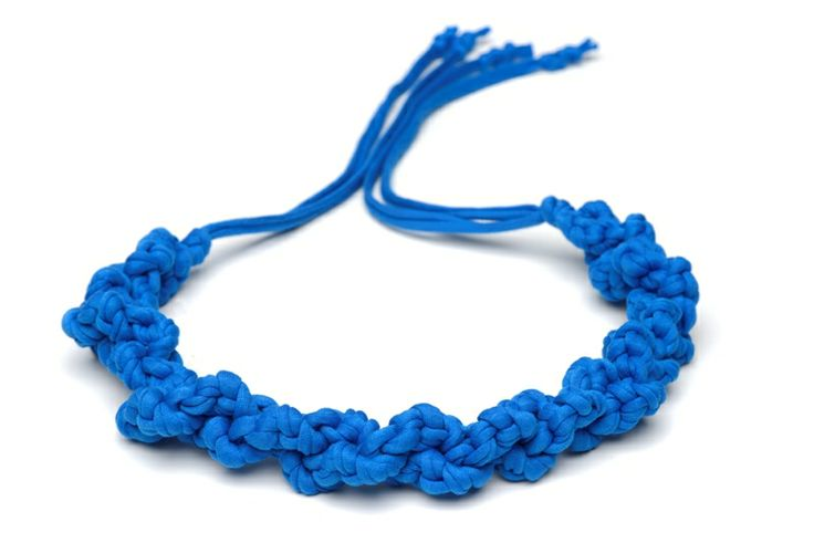 Maccheron 100% Fabric Crochet Necklace (blue) - Designed and handmade with <3 ...in Budapest ...by me :-) Like my page on FB: http://www.facebook.com/Maccheron