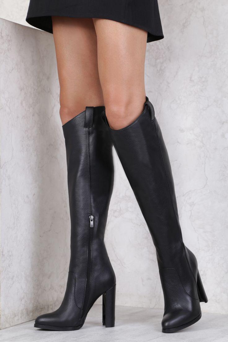 Agnese 3743 Çizme SIYAH   Topuklu Çizme