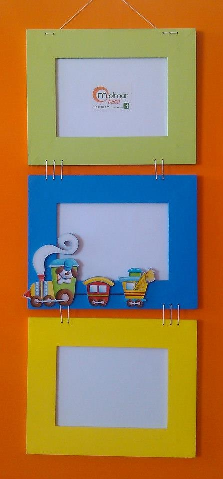 Portarretratos en Mdf infantiles para 3 fotos con Sticker decorativo.#deco #photo #home