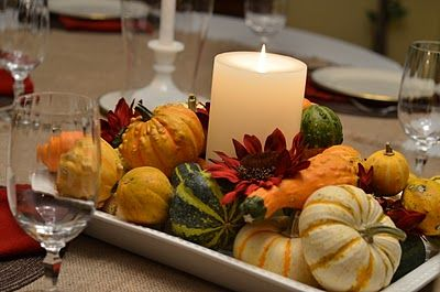 Simple fall centerpiece. Southern Inspirations: Thanksgiving Table & Dining Room Tour