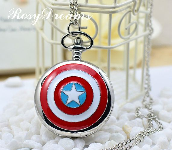 Captain Americas shield metal steam punk style watch necklace