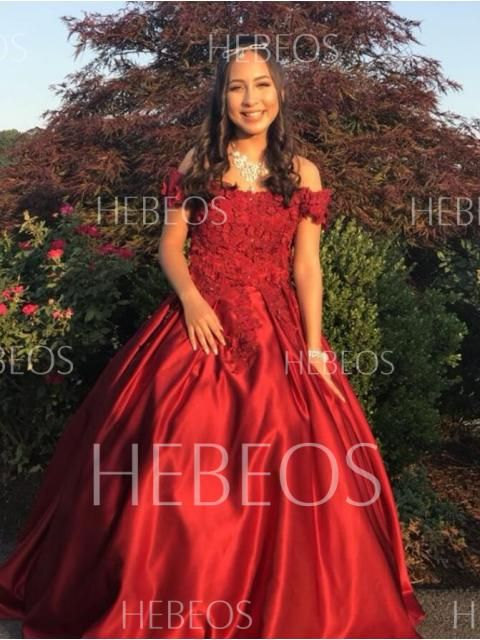 18c4552dbe1 Ball Gown Sleeveless Off-the-Shoulder Applique Satin Floor-Length Dresses - Prom  Dresses - Hebeos Online