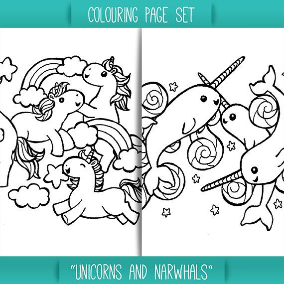 Unicorns And Narwhals Colouring Page Set For Children