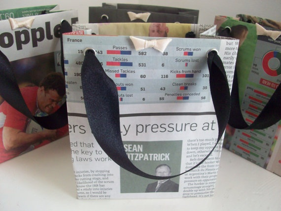 Recycled Newspaper Gift Bags  Set of 4 by LaPommeEtLaPipe on Etsy, $5.00