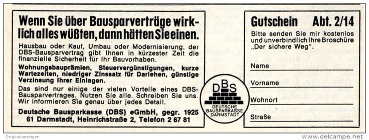 Original-Werbung/ Anzeige 1968 - DEUTSCHE BAUSPARKASSE DARMSTADT - ca. 115 x 45 mm
