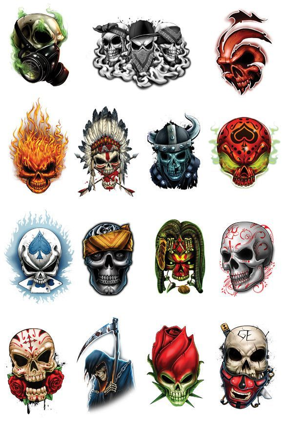 Skull Mix temporary tattoos-Reaper skull, sugar skull, fire skull. | Tatt Me Temporary Tattoos