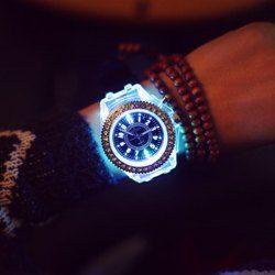 SHARE & Get it FREE   Cool Flash Light Jelly Diamond Men Quartz Watch with…