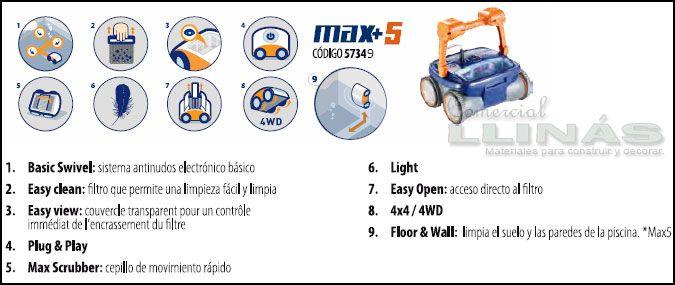 Limpiafondos Astralpool Max 3 y 5 4WD. Especificaciones.