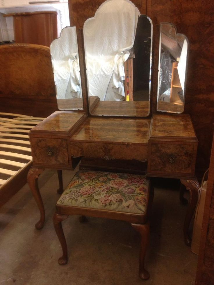 Before - Vintage dressing table, triple mirrors and stool