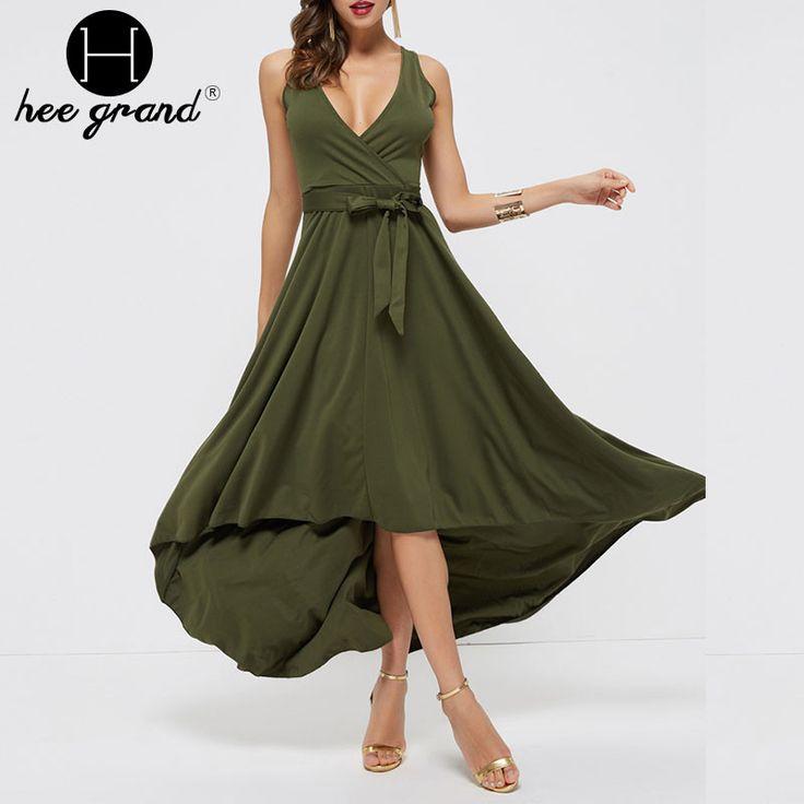 Sexy Deep-V Long Dress Summer Women Irregular Elegant Flare Bow Empire Waist Sleeveless Maxi Dresses