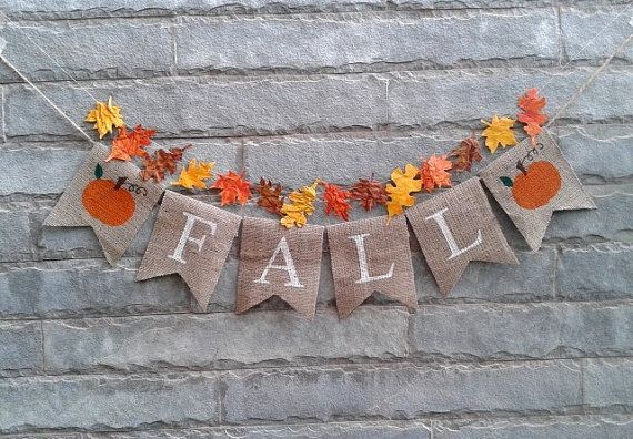 FALL Burlap banner  Fall banner fall decor by Sunshineatheart