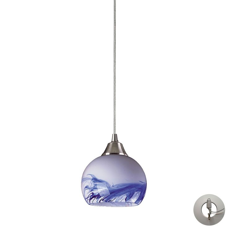 Mela 1 Light Pendant in Satin Nickel And Mountain - Includes Recessed Lighting Kit