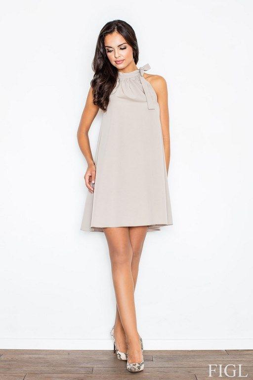 Beżowa sukienka wiązana na szyi