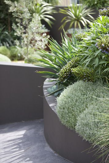 * retaining wall/raised bed, soft and round forms with spiky, green tones. .Peter Fudge garden