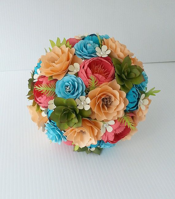 Peach and Coral Paper Flower Bouquet with Succulents - Designed by Anna Fearer