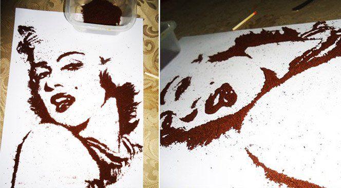 O designerGuilherme Bandeirado site Olha que Maneiro criou ilustrações usando pó de café no lugar de tintas. Ficou muito legal.