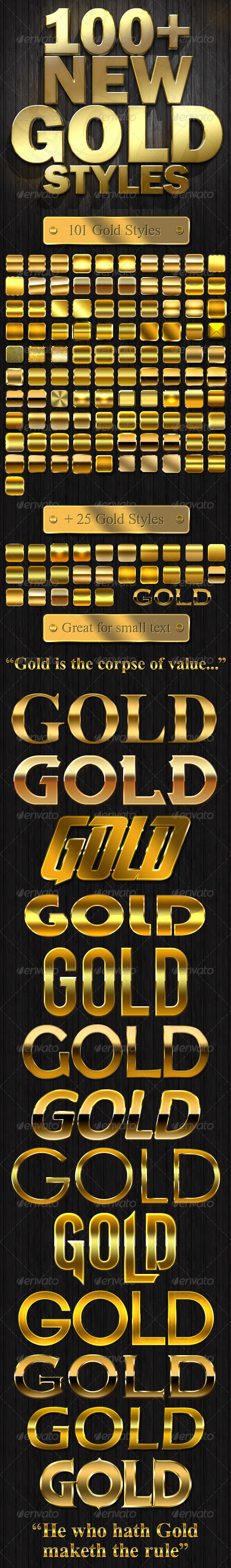 100+ New Gold Styles - Styles Photoshop