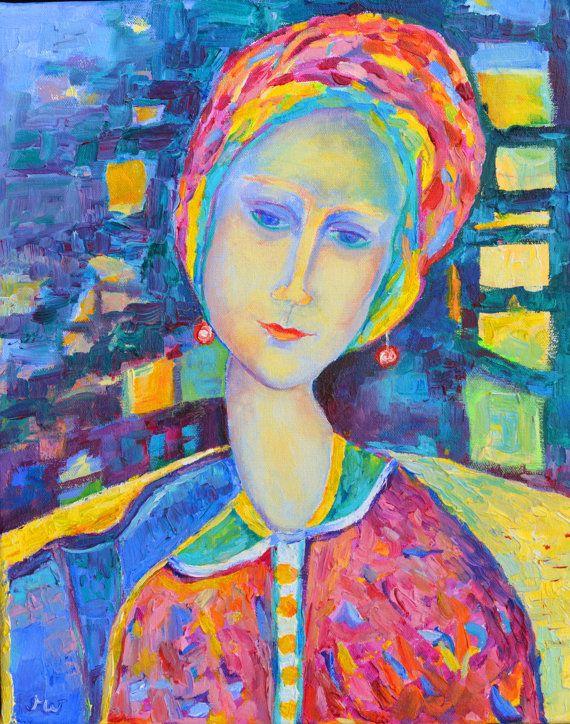 Modigliani style  print on canvas. Modern oil by TanabeStudio