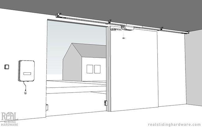 Edison sliding opener aos for garage doors and pole for Pole barn sliding door plans