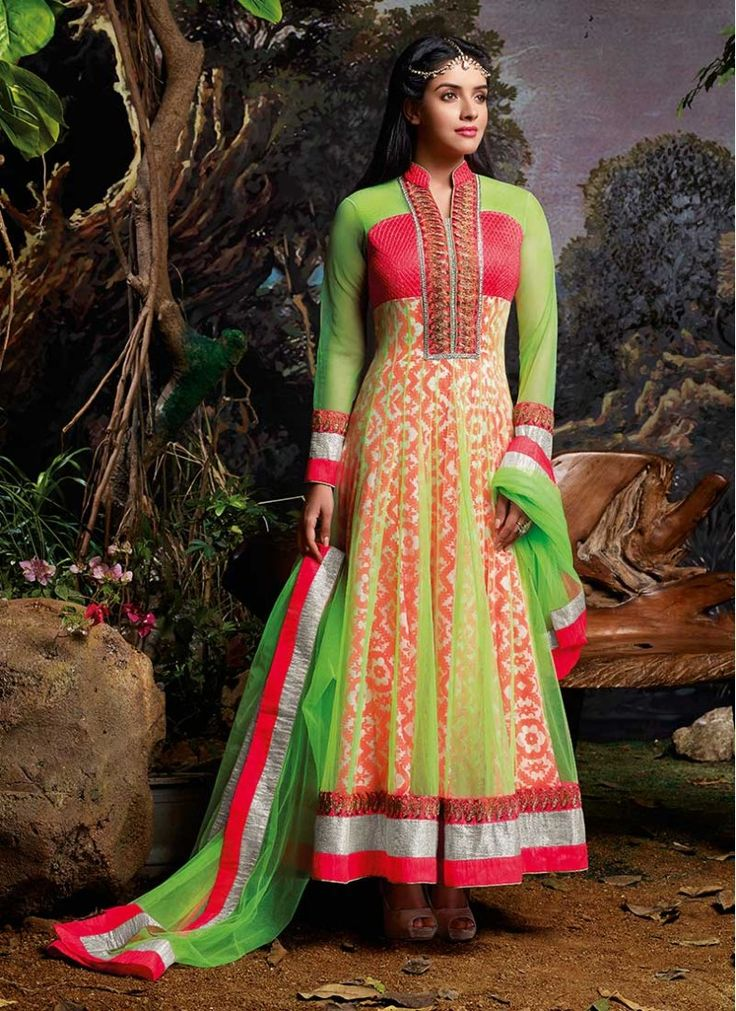 Asin Green and Hot Pink Sentoon Trendy Anarkali Salwar Kameez