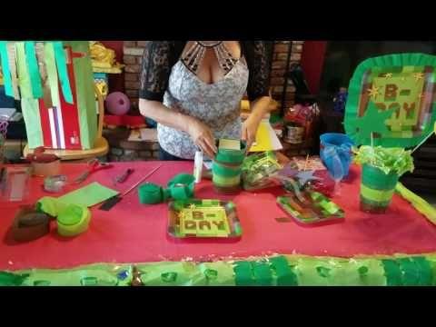 Lembrancinhas / Centro de Mesa Tema Minecraft feito em Balões  Para festa / Fiesta / Party / ideias - YouTube
