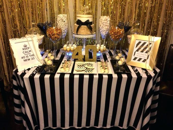 Black White And Gold Table Decorations Fun Birthday Party Decorating Ideas Black White G Candy Table Decorations Gold Table Decorations Gold Table Centerpieces