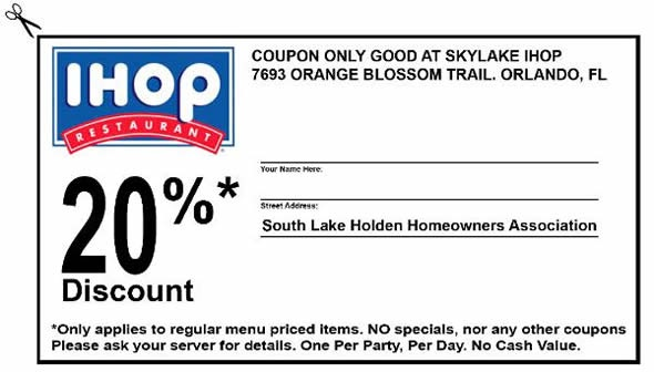 IHOP Coupons 2013: 20% Discount. Only applies to regular menu priced items.
