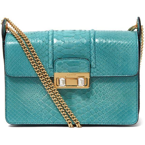 Lanvin Turquoise JiJi Python Small Shoulder Bag (€1.910) ❤ liked on Polyvore featuring bags, handbags, shoulder bags, chain shoulder bag, chain strap purse, blue shoulder bag, snakeskin shoulder bag and shoulder handbags