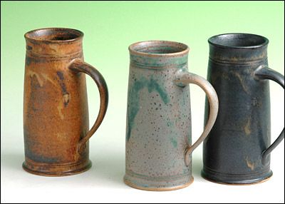 simple steins...allowing glaze to give it interest - love the elongated forms of these, and note the handle isn't crazy big either!