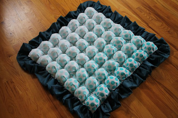 "Tutorial: Bubble Quilt Method #2 | Awaiting Ada.    I love this method - I'd change the squares to a 5"" & 4"", or 6"" & 5"" (instead of 6"" & 4.5"").    I won't hand-sew the little holes in the back, I'd layer the front and the back together and machine quilt between bubble seams.  That way the layers are attached all ovet he quilt and not just at the edges.    Great tutorial!"