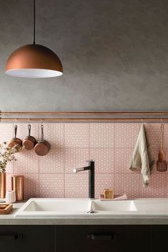 Pink tiles kitchen