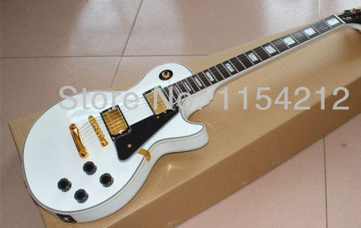 Freies verschiffen --- Neue ankunft Perle weiße farbe G-Benutzerdefinierte LP E-gitarre