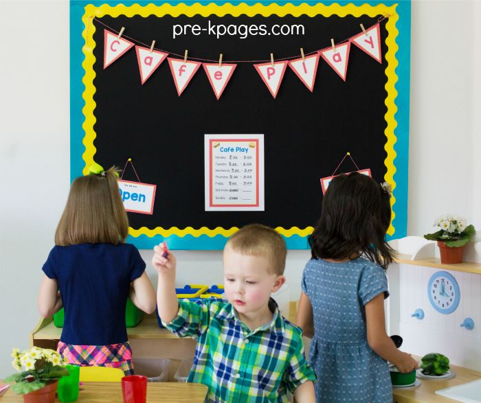 Pretend Play Center Ideas and Themes for Preschool. Kids LOVE to play in the dramatic play center!  Support oral language, math, literacy skills and more when they engage in pretend play daily!
