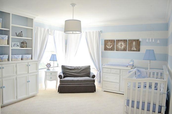 морская детская комната для новорожденного