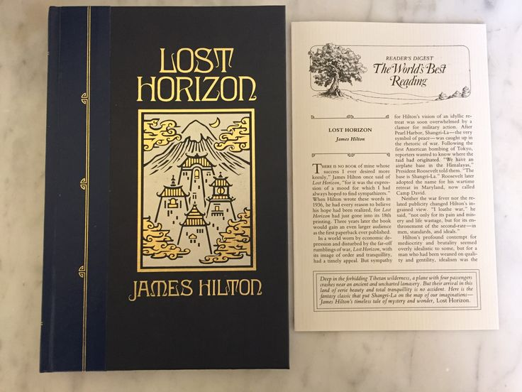 BRAND NEW Never Read! Lost Horizon by James Hilton 1990 Hardcover Reader's Digest World's Best Reading Illustrated Collectible Classic Book by Samanthasunshineshop on Etsy