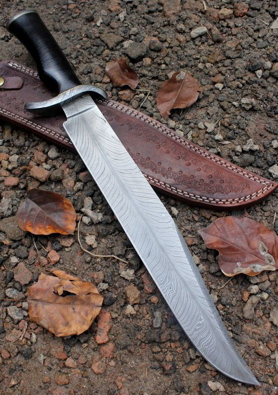 Damascus Knife Custom Handmade  - 19.00 Inches Micarta Handle Bowie #Handmade