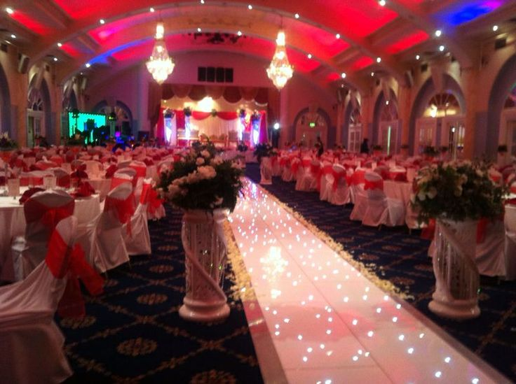 Wedding Reception Hall Decoration Red White Colour Theme