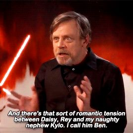 Mark Hamill comments on the romantic tension between Rey and Kylo Ren