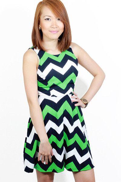 Bodeoo Chevron Green Dress #bodeoo