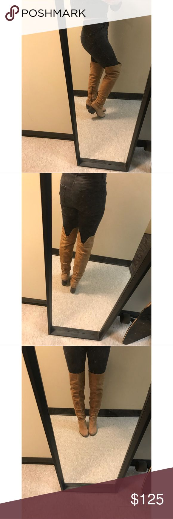 Aldo Thigh high boots My favorite pair of thigh highs! They are genuine leather from Aldo. I have only worn these 6-7 times. They don't feel too high because of the chunky heel! Aldo Shoes Over the Knee Boots