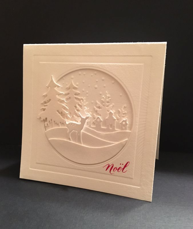 Ihandmade winter/Christmas card ... C577 - Winter White by girlgeek101 ... awesome depth with layers of die cuts creating a winter scene in a circle ... wonderful card!!