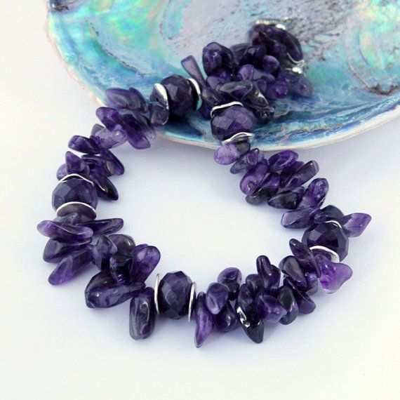 Amethyst Necklace Gemstone Jewelry Purple Necklace by Fagiano