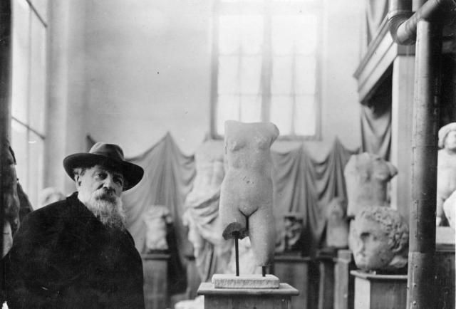 Visitor's Guide to the Rodin Museum in Paris: Auguste Rodin with some of his sculptures, 1910.