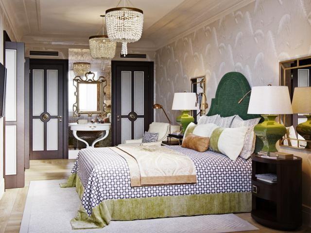 Прямоугольная спальня в восточном стиле: фото
