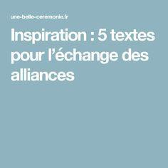 Inspiration : 5 textes pour l'échange des alliances
