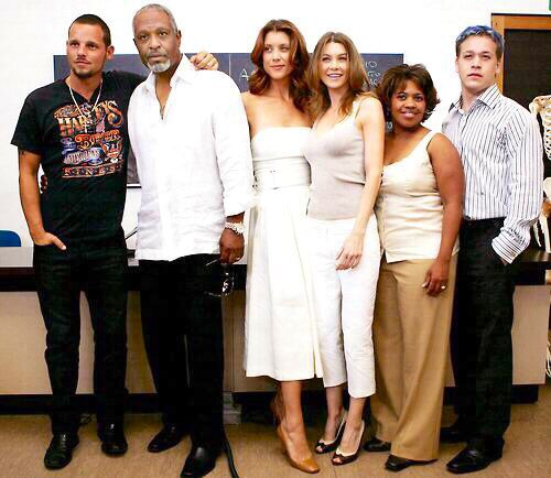 Justin Chambers, James Pickens, Jr., Kate Walsh, Ellen Pompeo, Chandra Wilson, and T. R. Knight